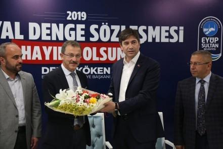 Eyüpsultan Belediye Başkanı Deniz Köken, Bem-Bir-Sen Genel Başkanı Levent Uslu, Sosyal Denge Sözleşmesi