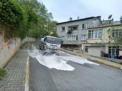 Akşemsettin'in cadde ve sokakları temizlendi, dezenfekte edildi